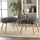 Hussey Glam Boho Faux Fur Ottoman Stool