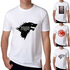 2017 Game of Thrones Ice Wolf White Cotton T-shirts Mens Short Sleeve Casual Tee