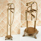 Free Standing Floor Mount Bathtub Brass Mixers Faucet Antique Shower Spray Set
