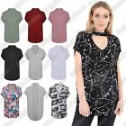 New Ladies Cap Sleeve Choker V Neck Plain Printed Loose Fit Baggy Oversized Top