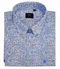 Cotton Valley Mens Cotton SS Paisley Print Shirt(14334)in White/Blue,Size2XL-8XL