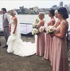 Blush Long Bridesmaid Dresses Prom Dress Formal Evening Cocktail Party Ball Gown