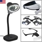 Magnifying Eye Magnifier Glasses Loupe Lens Jeweler Watch Repair LED Light US