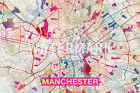 Graphic Map of Manchester, England - Beautiful Photo Poster Print Street