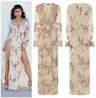 ROSE GOLD PLUNGE LONG SLEEVE FLORAL SEQUIN DOUBLE SLIT MAXI PARTY DRESS 6-16