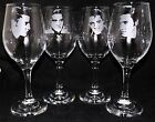 "New Etched ""ELVIS PRESLEY"" Set of Four Large Wine Glases - Unique Gift"