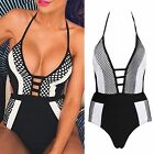 Celeb Sexy Black White Mesh Cut Out Monochrome Swimwear Swimsuit Bodysuit S M L