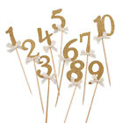 10PCS Gold Glitter Number CupCake Topper Child Birthday Baby Shower Party Decor
