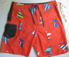 NEW Vans Era Classic Boardshorts Red Navy Sailboat HIDDEN PRINT 36 Board Shorts
