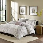 6pc Pale Purple & Grey Cotton Duvet Cover Bedding Set AND...