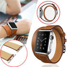 Leather Watch Band Double Tour Bracelet Strap For Apple watch 38mm/42mm