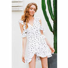 New Women's Summer Short  V-Neck With A Lotus Leaf Dresses Gown Prom Party Dress