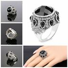 Bohemia Women Silver Plated Crystal Resin Wedding Jewelry Black Big Ring Gifts