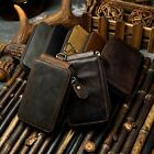 Mens Genuine Leather Car Key Bag Remote Cover Case Holder Key Chain Rings