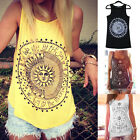 Womens New Printed Sleeveless Tank Blouse Ladies Cotton Camisole Vest Tops Cami
