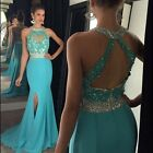 Sexy Halter Long Side Slit Mermaid Prom Dress Evening Party Dress For Graduation