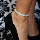 1-5Row Foot Chain Leg Bracelet Tennis Clear Crystal Silver Gold Stretch Anklet