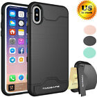 Kickstand Card Pocket Armor Hybrid Cover Case For Iphone X 8 6 6s 7 Iphone8 Plus
