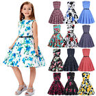 Retro Vintage Style Kid Girls 50`s 60`s Cocktail Party Evening Pinup Swing Dress