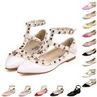 New Womens Pointed Toe Buckle Sandals Metal Rivet Studded Comfy Flats Thin Shoes