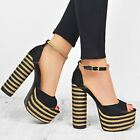 Womens Ladies Block High Heel Sandals Rafia Platforms Peep Toe Chunky Shoes Size