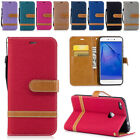 Luxury Magnetic Jean Leather Card Wallet Stand Case Cover for Huawei LG Moto