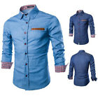 Trendy Men's Denim Washed Casual Dress Shirts Long Sleeve Slim Fit Shirts