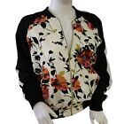 New Look Womens Satin Look Zip Front Blouson Jacket Fully Lined Ivory & Floral