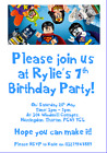 personalised paper card party invites invitations LEGO SUPERHEROES BATMAN