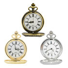 Vintage Pendant Pocket Watch Chain Carved Roman Number Men Alloy Pocket Watches