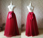 Wine Red 7 Layers Tulle Long A-Line Women Tulle Skirts Adult Long Summer Skirt