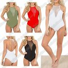 New Ladies Halter Neck Fishnet Mesh Backless TieBack Plunge Leotard Bodysuit Top