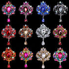 Fashion Rhinestone Crystal Crown Flower Brooch Collar Pin Drop Dangle Breastpin