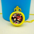 Stained Glass Mega Lucario Domed Watch Necklace Groomsmen Charm Pocket Watch Fob