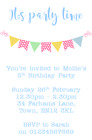 PERSONALISED PARTY PHOTO CARD INVITATIONS BIRTHDAY INVITES BUNTING PINK BLUE