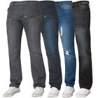 New Mens ENZO Regular Leg Straight Fit Denim Jeans Pants Blue All Waist Sizes