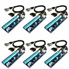 6-Pack USB 3.0 HUB PCI-E Express 1x To 16x Extender Riser Card Adapter Cable