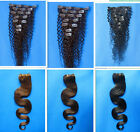"""clip in curly 100% Real Reay human hair extensions 20"""" 7pcs black brown"""