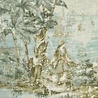 Blue Gray Green Scenic Toile Linen Upholstery Fabric, Blue Toile Fabric by yard