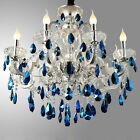 Luxury Ceiling Light Pendant Lamp Silver  Blue Crystal Chandelier Lighting New