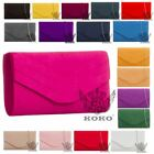 NEW WOMENS ENVELOPE DESIGN CHAIN STRAP FAUX SUEDE PARTY EVENING CLUTCH BAG