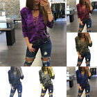 Women V-neck Lace Up Bandage Casual Camouflage Blouse Tops Thick Tee T-shirt Us