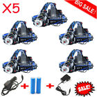 12000LM CREE XM-L T6 LED Headlamp Zoomable HeadLight +18650 Battery+ Charger LOT