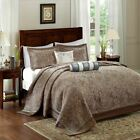 Luxury 5pc Brown & Blue Jacquard Weave Bedspread Set AND Decorative Pillows image