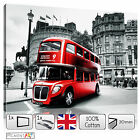 LARGE LONDON UK CITY RED BUS - BLACK WHITE RED STRETCHED CANVAS WALL ART PRINTS