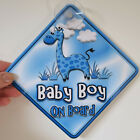 NEW   BLUE BABY GIRAFFE   BABY BOY   Personalised Baby on Board Car Window Sign