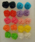 Lovely cute sparkly rose shaped acrylic stud earrings + free stoppers selection