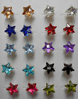 Crystals little stars studs earrings in 10 different colours + free stoppers