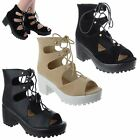 LADIES WOMENS MID HIGH BLOCK HEEL PLATFORM LACE UP PEEP TOE SANDALS SHOES SIZE