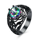 Punk Colorful Crystal Wedding Ring Men Women's Black Rhodium Plated Good Gift